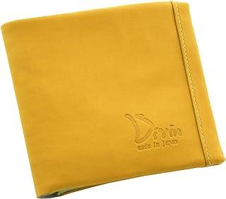 Divin メンズ レディース ユニセックス ラウンド 二つ折り財布 小銭入れ グローブ用レザー使用 イエロー【DV-014】