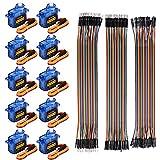 Innovateking-EU 10 Unids SG90 Micro Servo Motor 9G Servo con 120 unids Multicolor Du-pont Wire 40pin Macho a Hembra, Cables de Puente de Tablero para Arduino RC Robot Smart Car