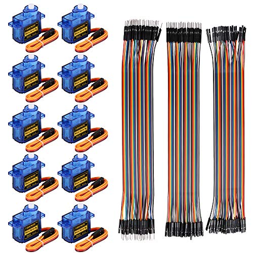 Makerfire 10Pcs SG90 Micro Servo Motor 9G Servo with 120pcs Du-pont Wire 40pin Male to Female, 40pin Male to Male, 40pin Female to Female Breadboard Jumper Wires for Arduino RC Robot Smart Car