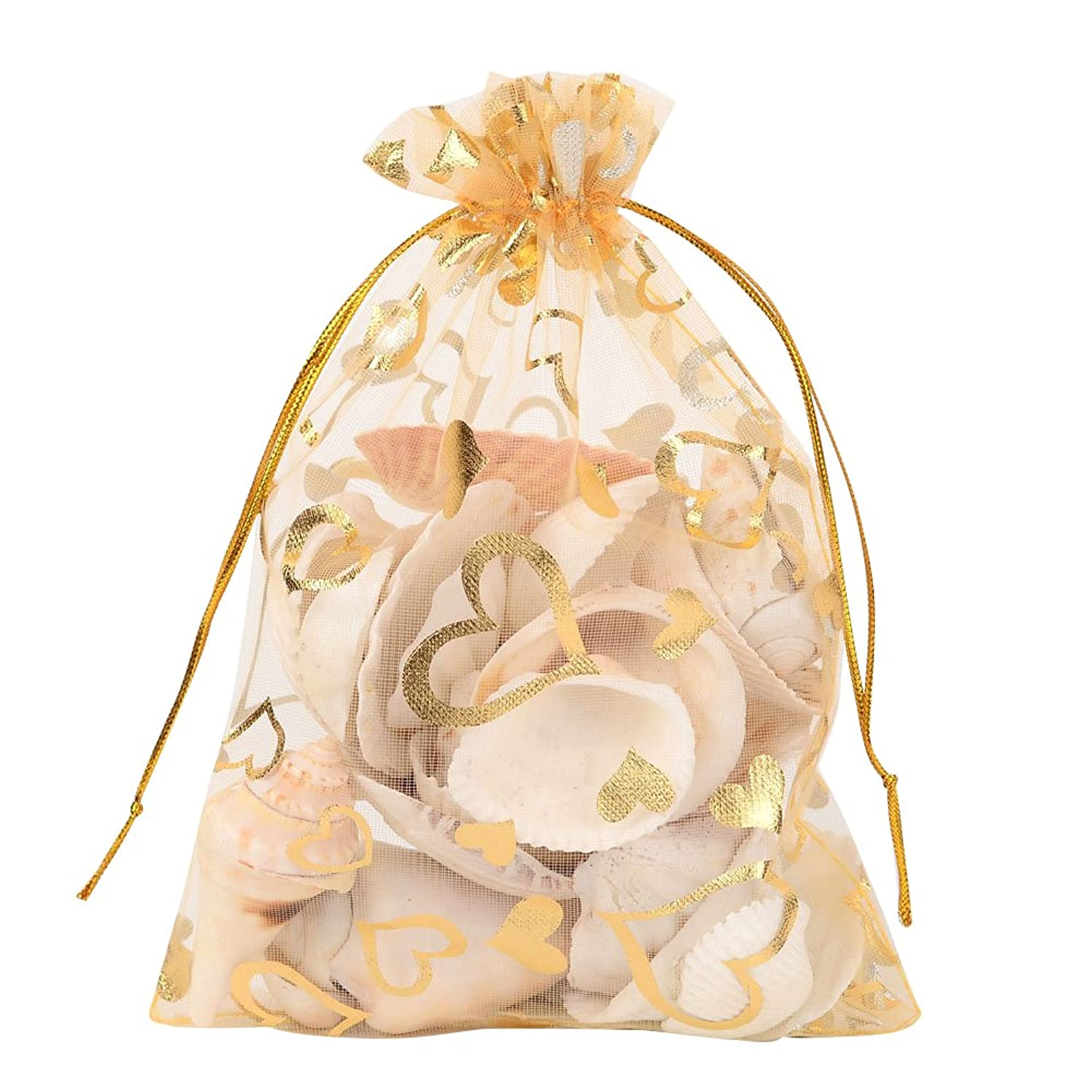 Pandahall 100 PCS 5x7 Inches Heart Printed Goldenrod Organza Bags Jewelry Pouch Bags Organza Velvet Drawstring Pouches Wedding Favors Candy Gift Bags