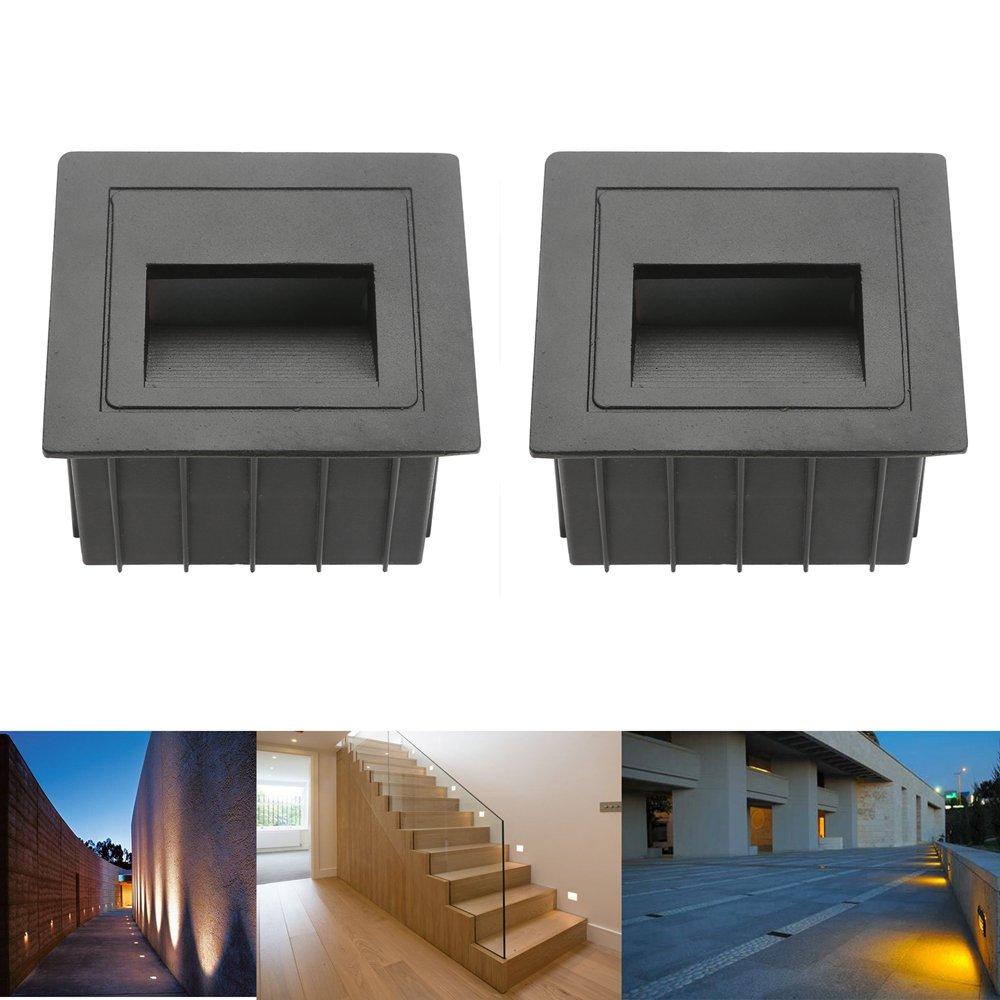 2pcs LED Escaleras Aluminio 230 V 3 W Cristal apliques luz escaleras con cajetín Escaleras Luz Lámpara de pared IP65: Amazon.es: Iluminación