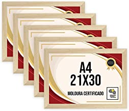 Kit 5 Porta Certificados 21x30 Moldura A4 para Certificado Foto Parede Carvalho