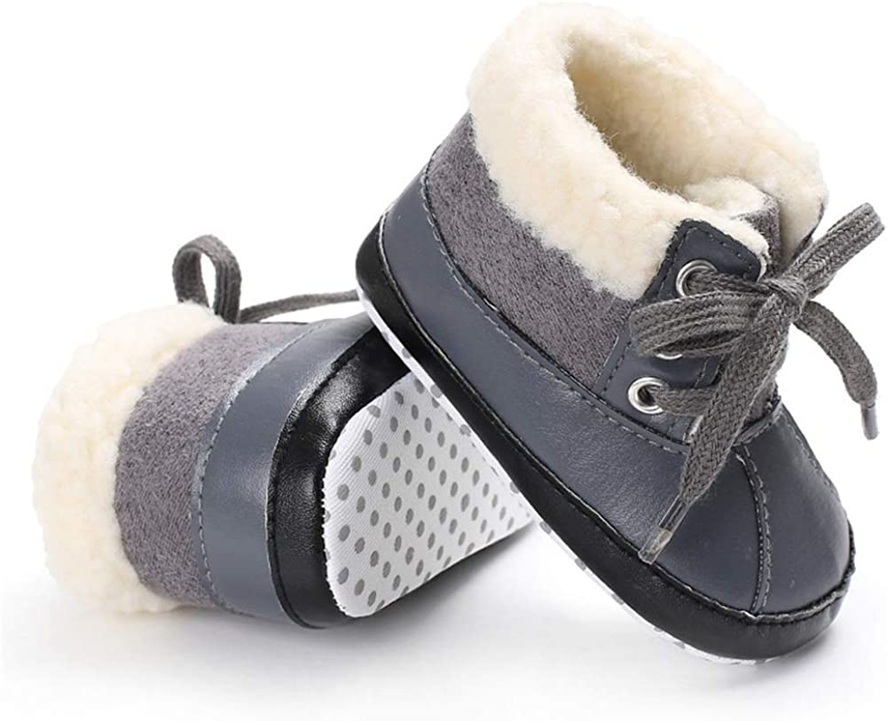 TIMATEGO Infant Baby Boys Girls Snow Boots Non Slip Soft Sole Toddler First Walker Crib Warm Winter Shoes 3-18 Months