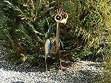 Trendshop-online Bunter exotischer Vogel Emu Reiher Paradiesvogel Teichfigur Garten 80 cm hoch Metallvogel Skulptur Metallfigur Windlicht