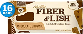 NuGO Fiber d'Lish Chocolate Brownie, 12g High Fiber, Vegan, 140 Calories, 16 Count
