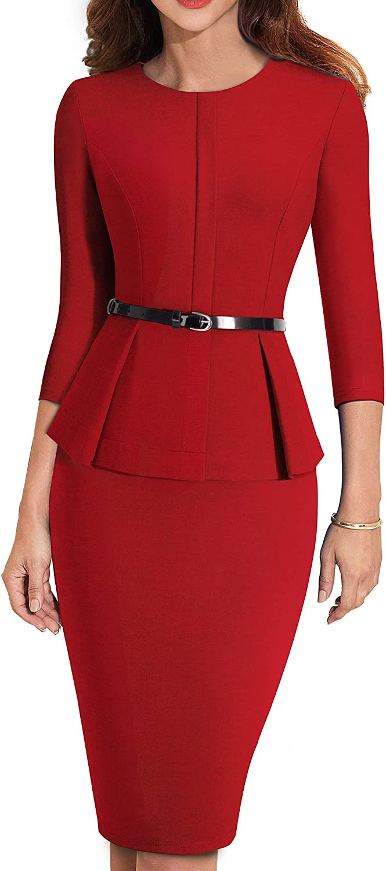 HOMEYEE Women's 3/4 Sleeve Office Wear Peplum Dress with Belt B473