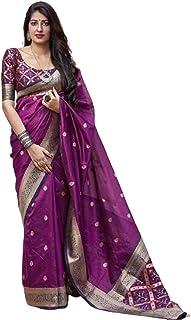 رداء هندي أرجواني تقليدي حريمي عصري من الحرير بناراسي مع بلوزة بتصميم ساري 6072
