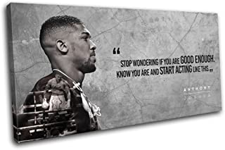 Bold Bloc Design - Boxing Anthony Joshua Quote Sports 150x75cm Single Canvas Art Print Box Framed Picture Wall Hanging - Hand Made in The UK - Framed and Ready to Hang