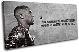 Bold Bloc Design - Boxing Anthony Joshua Quote Sports 120x60cm Single Canvas Art Print Box Framed Picture Wall Hanging - H...