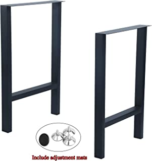 Womio 2Pcs Metal Furniture Legs Rustic Decory H Shape Table Legs,Desk Legs,Heavy Duty Dining Table Legs,Industrial & Modern,Black(H28 x L17.5 inchs)