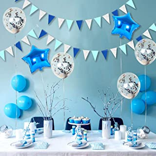 Blue and Silver Party Decorations,Glitter Banner Flag Kit,Twinkle Star Balloon Set,Silver Confetti Balloon, Foil Balloon and Twinkle Triangle Flag for Birthday Supplies Winter Party Decor