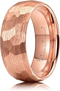 THREE KEYS JEWELRY Hammered Tungsten Wedding Rings 4mm 6mm 8mm Brushed Rose Gold/Grey/Black Engagement Band