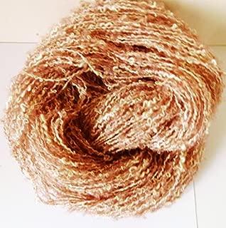 Cotton Rayon Salmon Pink Cream Fuzzy Loop Boucle Novelty Yarn