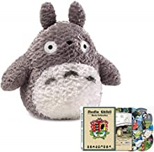 L.O.G.A Fluffy Totoro Stuffed Animal Plush Combo with Studio Ghibli Hayao Miyazaki 17 Movies Collection English Sub Set (Grey, 9 inch)