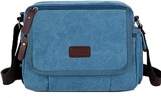 Mens Bag Simple Retro Zipper Waterproof Bag Canvas Messenger Shoulder Bag Color: Khaki High capacity