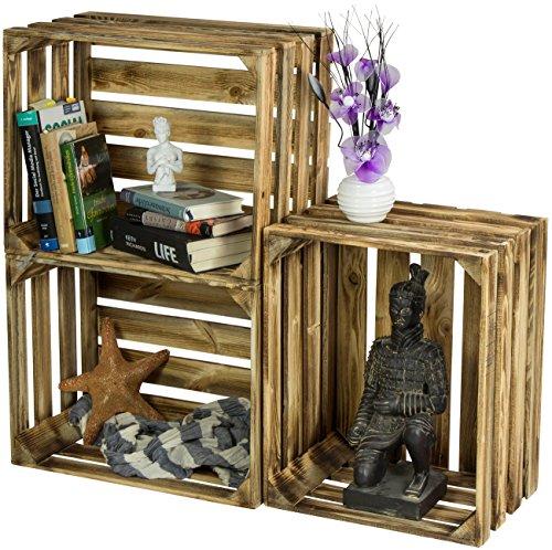 LAUBLUST 3er Set Sehr Große Vintage Holzkisten - 50x40x30cm, Geflammt, Neu, Unbenutzt | Möbel-Kiste | Wein-Kiste | Obst-Kiste | Apfel-Kiste | Deko-Kiste aus Holz