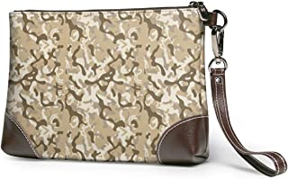 Women's Leather Clutch Camo Joggers Women Brown Zipper Purse Wristlet Mobile Phone Bag
