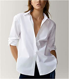 England Style Office Lady Simple Fashion Blouse Women Shirt Women Tops (Color : White, Size : Large)