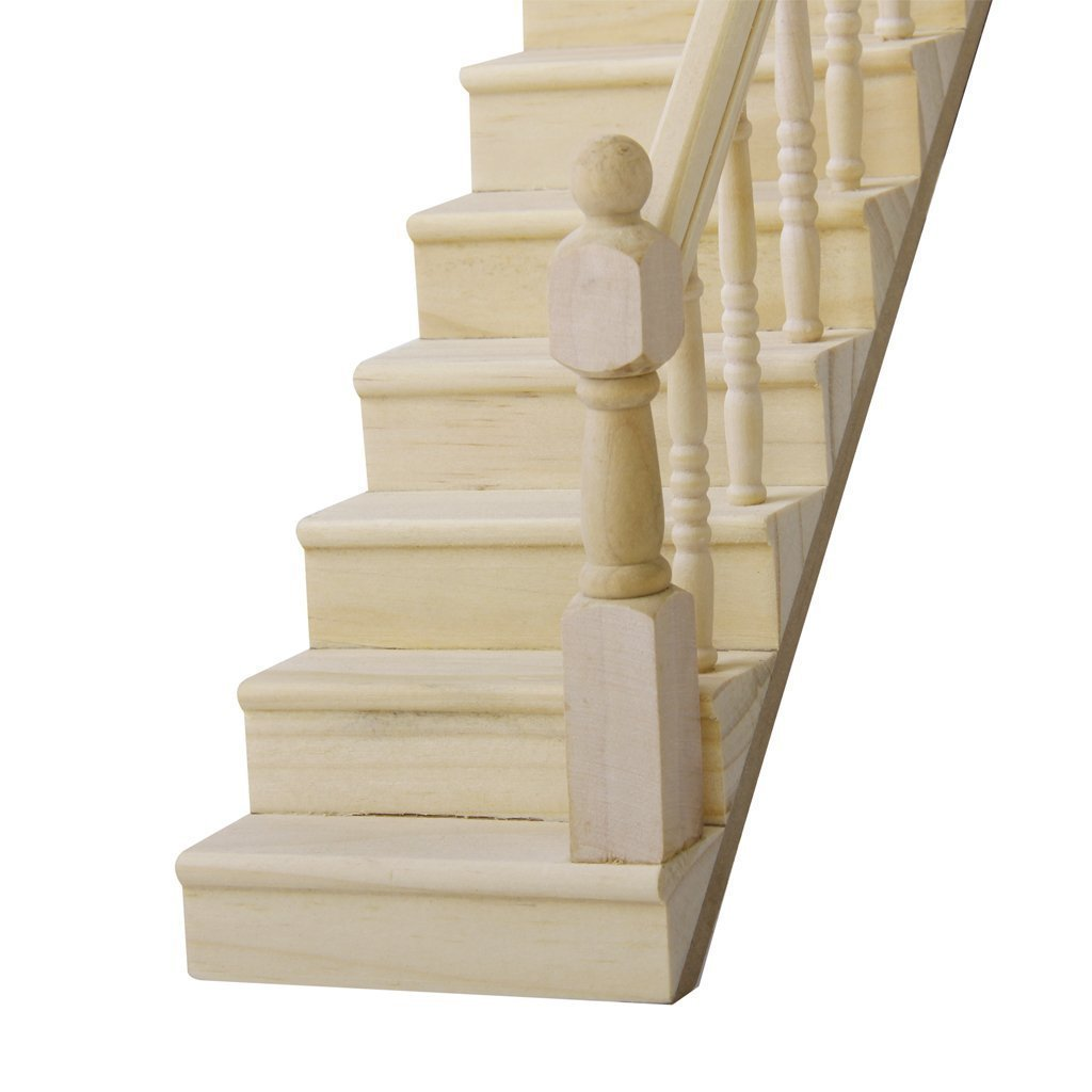 Veroda 1: 12 casa de muñecas de madera Escalera con pasamanos Derecho premontado de 45 grados Slope: Amazon.es: Hogar