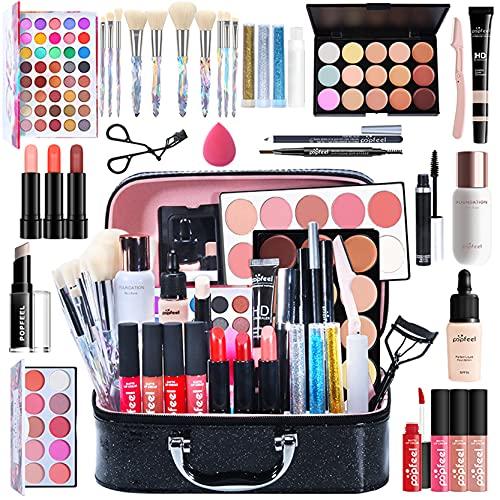 34 piezas Kits de Maquillaje, Set de Cosméticos Todo en Uno, Set de Regalo de Maquillaje Kit de Inicio Completo con Sombras de Ojos, lápiz Labial, Kit de Cosméticos para Niñas Mujeres