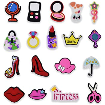 Red lips//Bowknot//Rainbow Shoe Charms Accessories Fit cor croc jibz Party Home De
