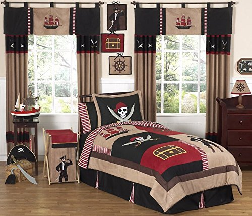 Sweet Jojo Designs 4-Piece Treasure Cove Pirate Children's Boys Twin Bedding Set