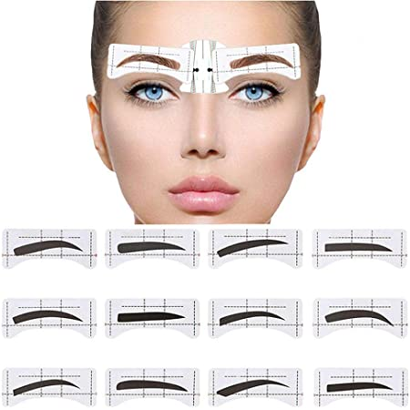 Amazon Com Ebanku 96pcs Eyebrow Stencil 48 Pairs Eyebrows Shape Stickers Shaping Template Eyebrows Grooming Stencil Kit With 6 Reusable Connection Card Diy Makeup Guide Template Tools Beauty