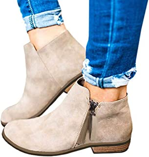 Clearance! Swiusd 💞 Women Flock Leather Ankle Booties Retro Stacked Chunky Block Heels Short Boots Warm Closed Toe Outdoor Western Shoes