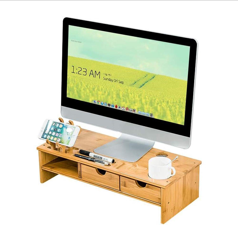 JCAFA Shelves Computer Monitor Heightening Office Desk Storage Bracket Mobile Phone Holder Design 2 Drawers Bamboo, Easy Assembly