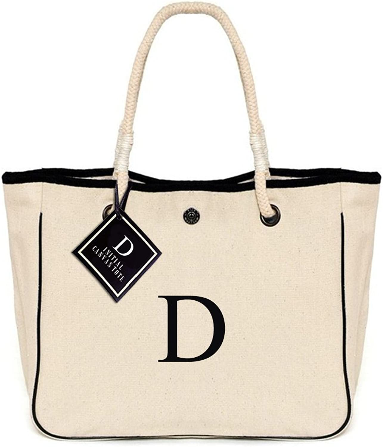 [ INITIAL  A to Z ] Monogram Name Canvas Tote Shoulder Bag