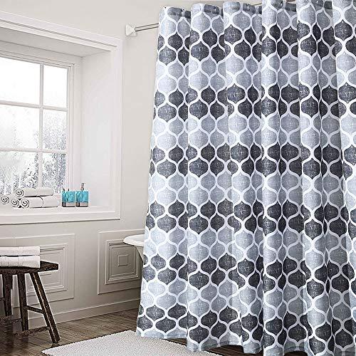 LinTimes Duschvorhang, Duschvorhang aus Stoff mit geometrischem Muster für Badezimmerduschen und Badewannen, marokkanischer Badvorhang mit Fliesenmuster, 72 x 72 Zoll, Grau/Silber