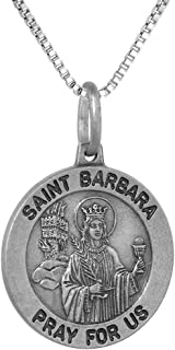 Sterling Silver St Barbara Medal Necklace 3/4 inch Round Antiqued Finish Italy 0.8mm Chain