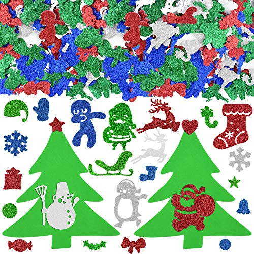 KATUMO Christmas Foam Stickers, 500Pcs Glitter Foam Stickers Self Adhesive Xmas Theme Shapes Stickers Christmas DIY Crafts Stickers for Christmas Party Decoration Classroom DIY Crafts Supplies