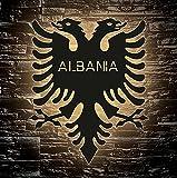 Albania - Albanische Doppeladler - Lasergravur LED Shqipërisë Wunschtext Schlummerlicht für Schlafzimmer Wohnzimmer