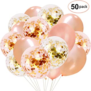 Rose Gold Confetti Balloons 50 Pack, 12 Inch Latex Party Balloons with Confetti Dots for Graduation Party Supplies 2019 Decorations