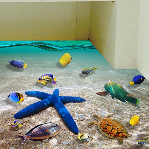 3D Kreativ Wandaufkleber, Meer Unterwasserwelt Aufkleber Abziehbilder Wand-Decke-Boden Deko Cartoon Deko Wandtapete Wandtattoos für Familie Deko Geburtstag Hochzeit Dekoration