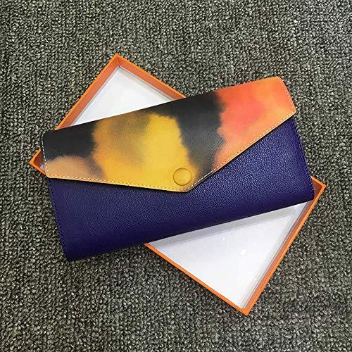 Damenbrieftasche Leder Schnalle Multi-Karten-Cover Typ 2-Fach Softface Damenbrieftasche, Elektro-optisch blau