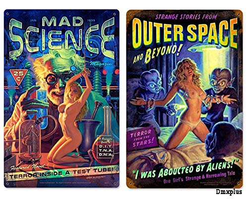 Losea Mad Science & Alien Abduction Pinup Girl Retro Vintage Bar Signs Tin Sign Vintage (2PCS,16x12 Inches)