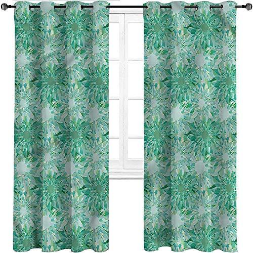 Cortinas UNOSEKS LANZON Turquesa, Doodle Flower Sketch Impresas para ventana, perfectas para sala de estar/ver películas, poliéster y mezcla de poliéster, Multi 11, W305 cm x L214 cm
