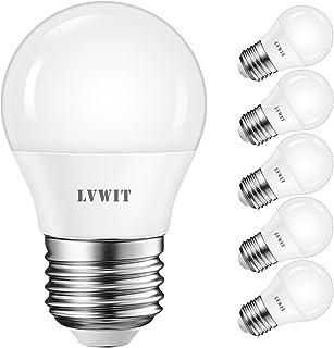 LVWIT Bombillas LED G45 E27 (Casquillo Gordo) - 5W equivalente a 40W, 470 lúmenes, Color blanco frío 6500K, No regulable - Pack de 6 Unidades.