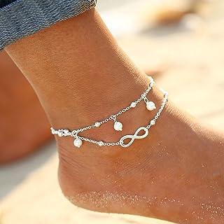 Chicer Simly - Tobillera de Playa con Perlas de imitación Ajustable, para Mujeres y niñas