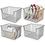 mDesign Farmhouse Decor Metal Wire Storage Organizer Basket - Open Front for Organizing Closets, Shelves and Cabinets in Bedrooms, Bathrooms, Entryways, Hallways - 12' Wide, 4 Pack - Graphite Gray