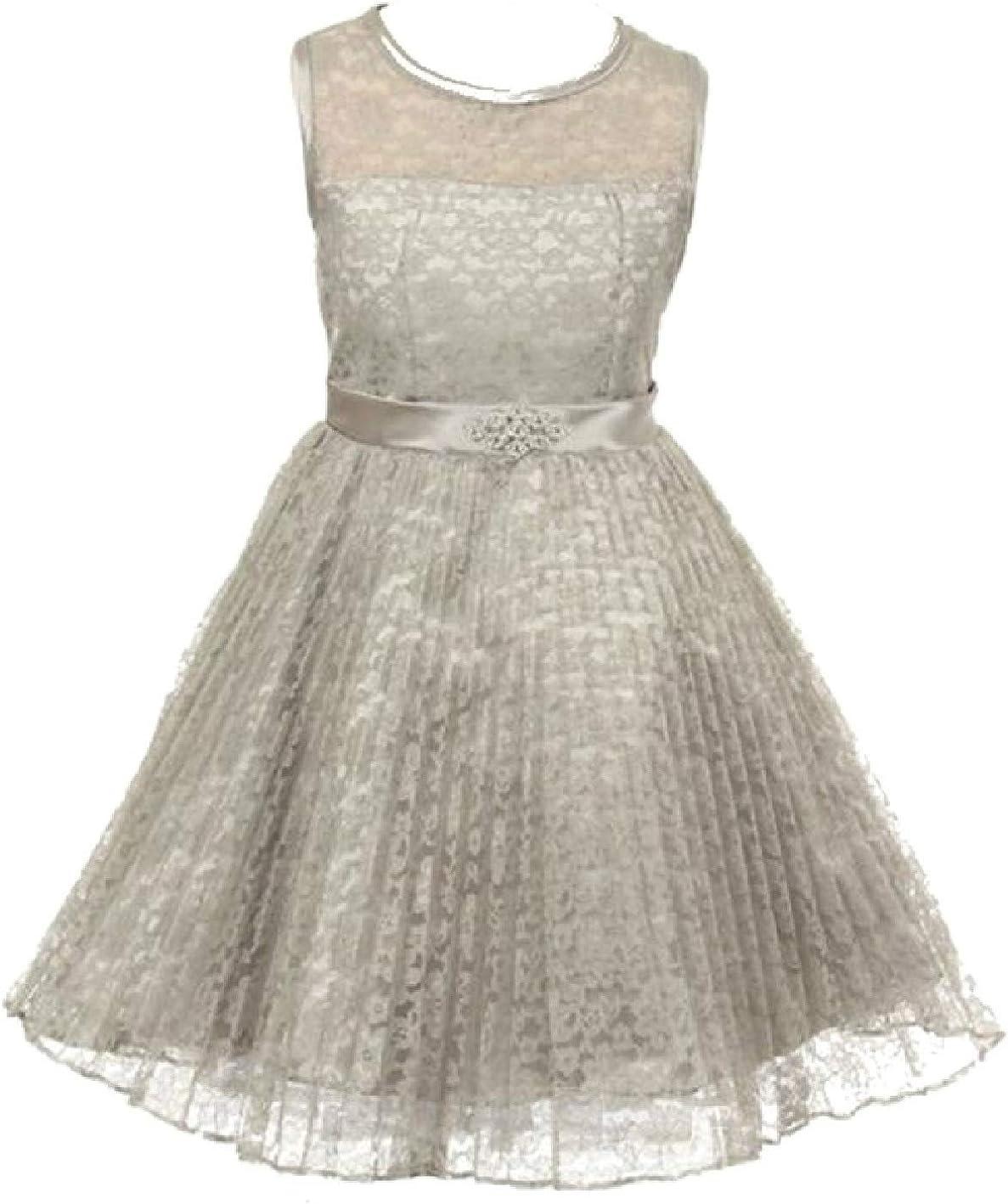 Girls Dress Lace Overlaid Rhinestones Junior Bridesmaid Flower Girl Dress