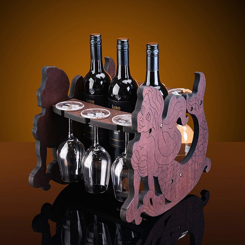 descuento de bajo precio Feifei Estantes del del del Vino de Madera Maciza Forma de la Sirena Decoración del gabinete del Vino Creativo Sala de Estar Restaurante Cocina Hogar Práctico Estante del Vino  Precio por piso