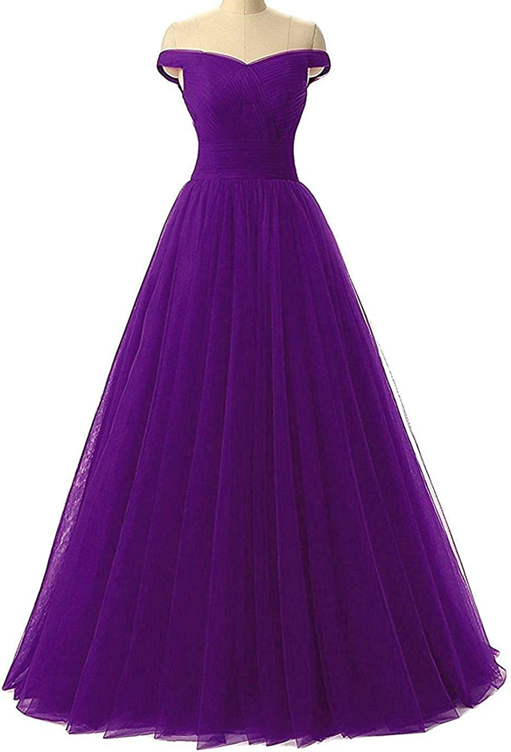 Aishanglina Aline Long Pleated Tulle Party Dress Prom Gown Off The Shoulder with LaceUp Back