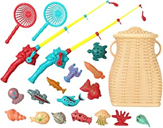 SOWUNO Fishing Pool Toy Set Plastic 20PCS Educational Magnetic Cute Interactive Bath Toy Bathtub Fish Toy with Bucket Kids...