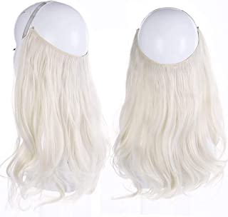 Platinum White Blonde Halo Hair Extension Long Secret Invisiable Flip Hidden Wire Crown Natural Curly Long Synthetic Hairpiece For Women Japan Heat Temperature Fiber SARLA 18