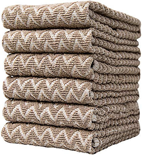"""Premium Kitchen Towels (16""""x 26"""", 6 Pack) – Large Cotton Kitchen Hand Towels – Chevron Design – 390 GSM Highly Absorbent Tea Towels Set with Hanging Loop – Tan"""