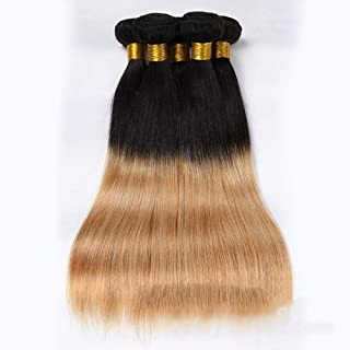 "10""-26"" Brazilian Human Hair Weave Bundles Hair Extensions Weft - Straight - #1B/27 Black to Brown (1 Bundle, 100g),Hairpieces (Color : Brown, Size : 18 inch)"