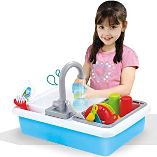 Liberty Imports Kids Role Play Kitchen Sink with Running Water - 20 Piece Electric Dishwashing Toy with Working Faucet, Di...
